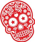 Mexican Day Of The Dead SUGAR SKULL In RED & White External Vinyl Car Sticker 120x90mm